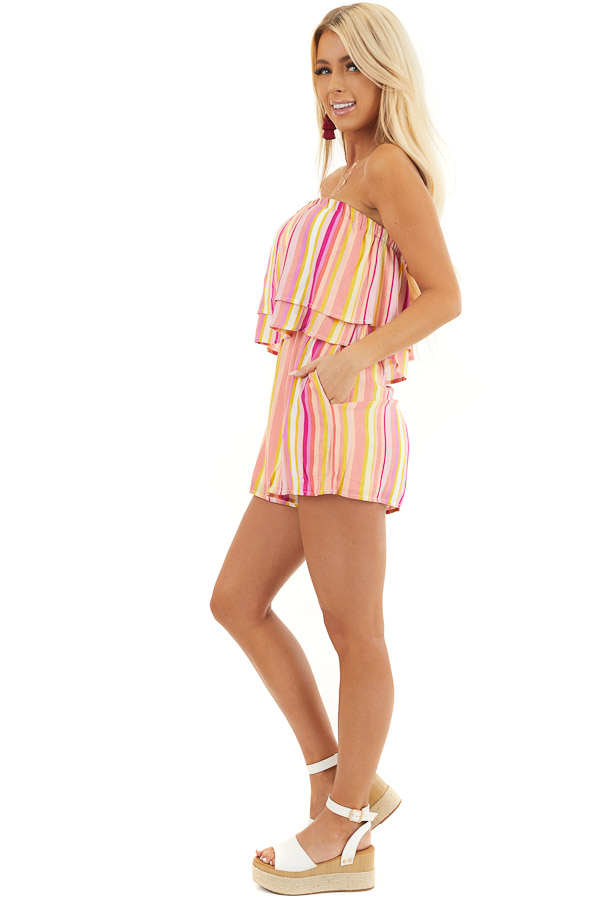 Multicolor Striped Strapless Romper with Ruffle Overlay side full body