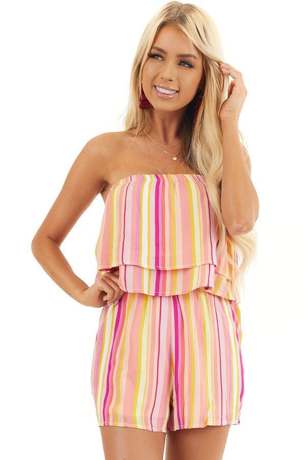 Multicolor Striped Strapless Romper with Ruffle Overlay front close up