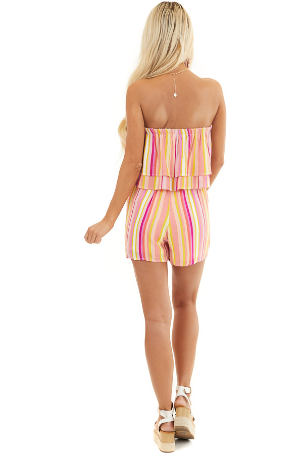 Multicolor Striped Strapless Romper with Ruffle Overlay back full body