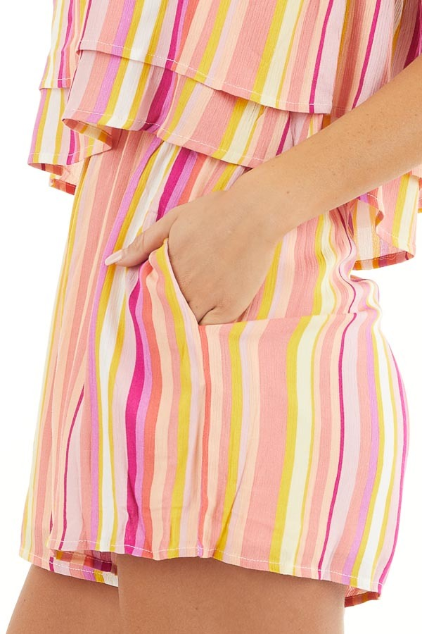 Multicolor Striped Strapless Romper with Ruffle Overlay detail