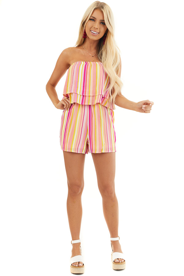Multicolor Striped Strapless Romper with Ruffle Overlay front full body