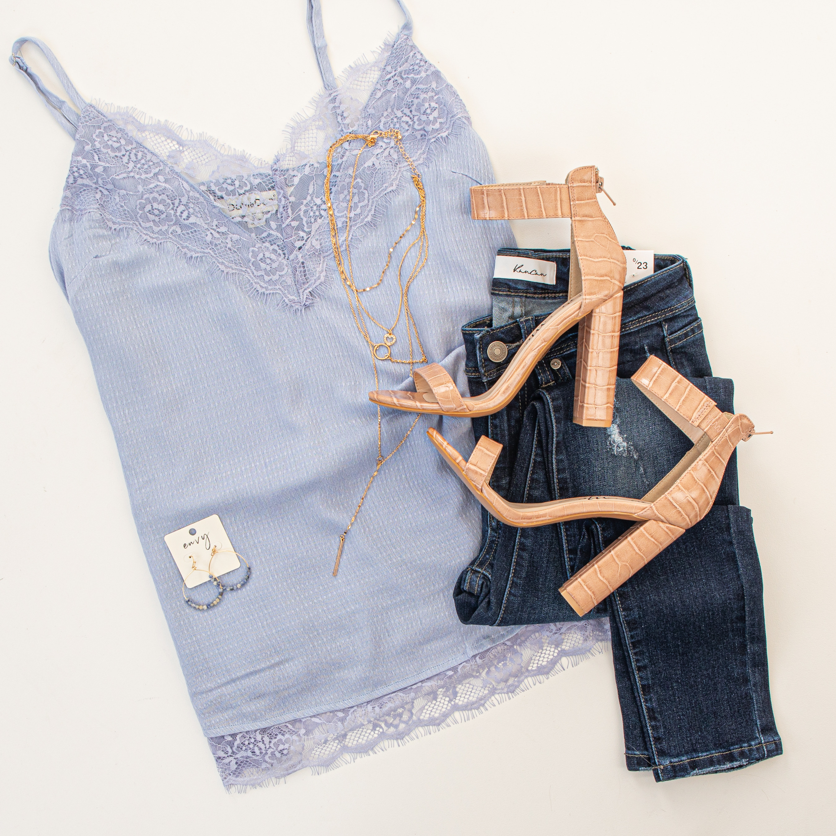 Powder Blue Sleeveless Tank Top with Lace Trim Details