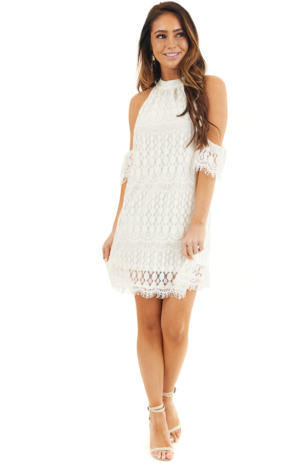 Off White High Neck Crochet Lace Dress with Cold Shoulders front full body