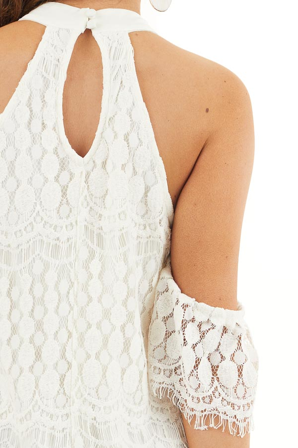 Off White High Neck Crochet Lace Dress with Cold Shoulders detail