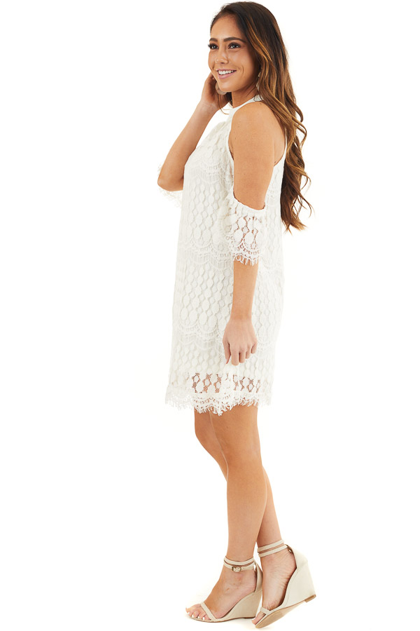 Off White High Neck Crochet Lace Dress with Cold Shoulders side full body