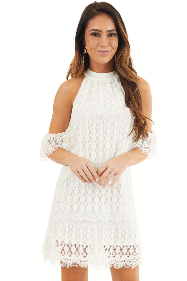 Off White High Neck Crochet Lace Dress with Cold Shoulders front close up
