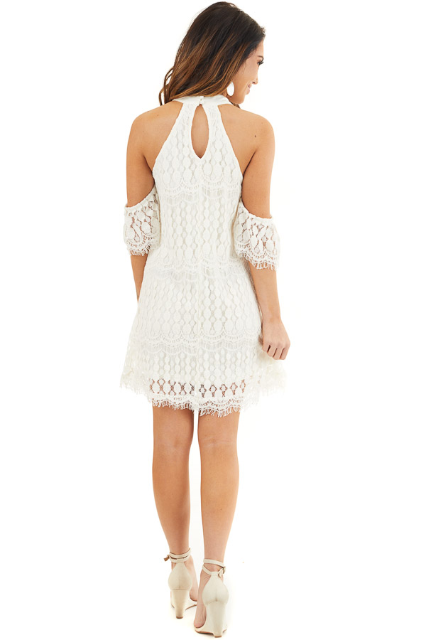 Off White High Neck Crochet Lace Dress with Cold Shoulders back full body