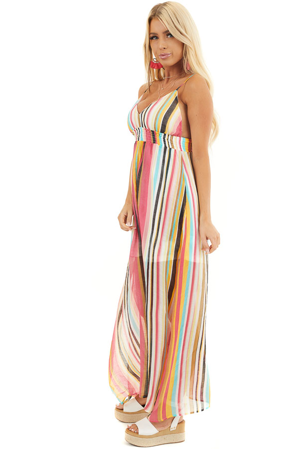 Coral Multi Color Striped Print Sleeveless Maxi Dress side full body