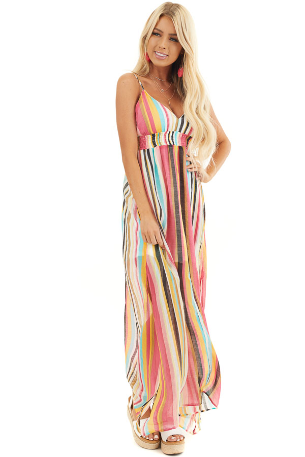 Coral Multi Color Striped Print Sleeveless Maxi Dress front full body