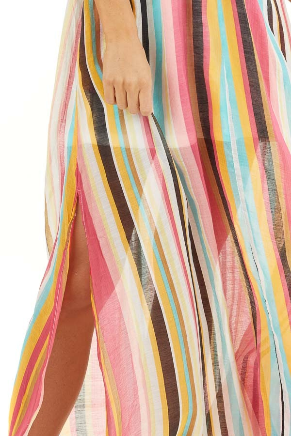 Coral Multi Color Striped Print Sleeveless Maxi Dress detail