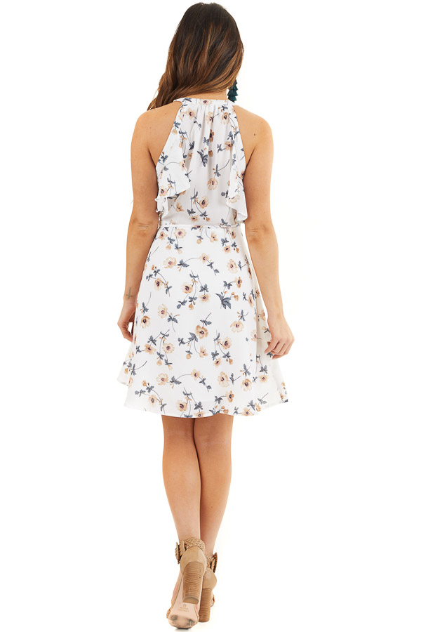 Off White Floral Print Wrap Dress with Ruffle Details back full body