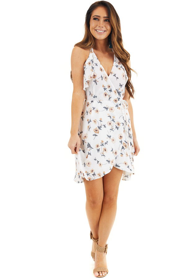 Off White Floral Print Wrap Dress with Ruffle Details front full body