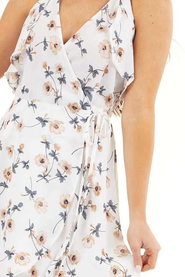 Off White Floral Print Wrap Dress with Ruffle Details detail