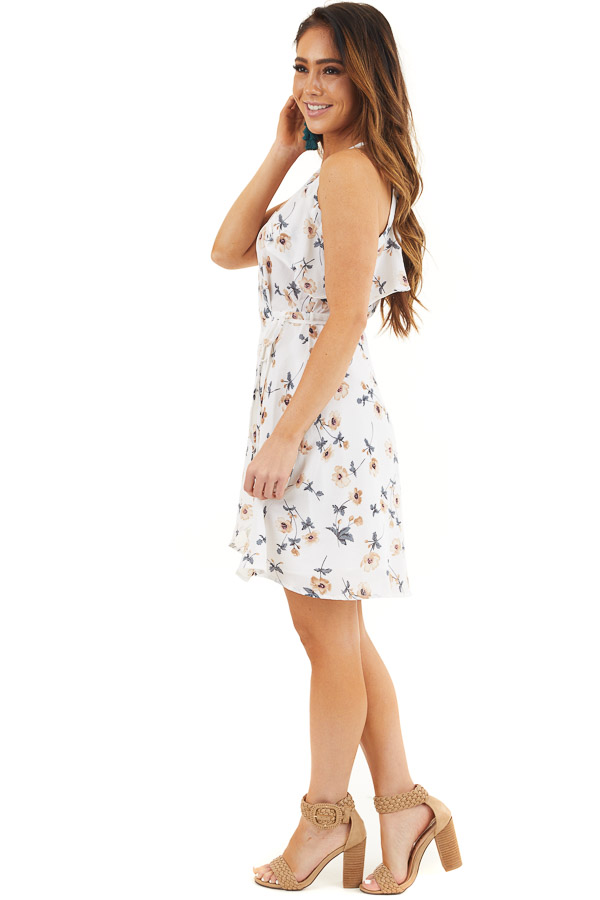 Off White Floral Print Wrap Dress with Ruffle Details side full body