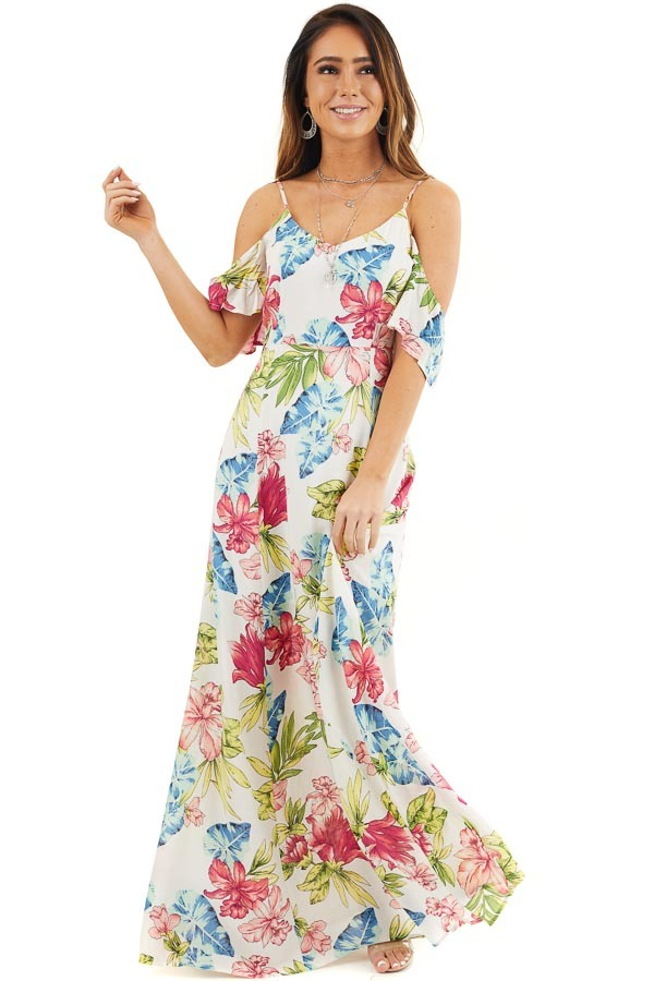 Off White Tropical Print Maxi Dress with Cold Shoulders front full body
