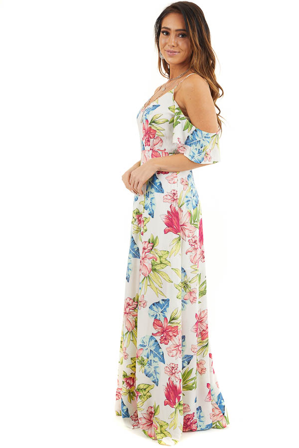 Off White Tropical Print Maxi Dress with Cold Shoulders side full body