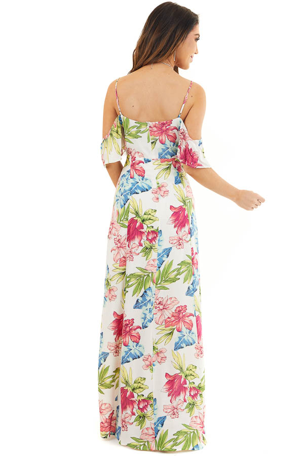 Off White Tropical Print Maxi Dress with Cold Shoulders back full body