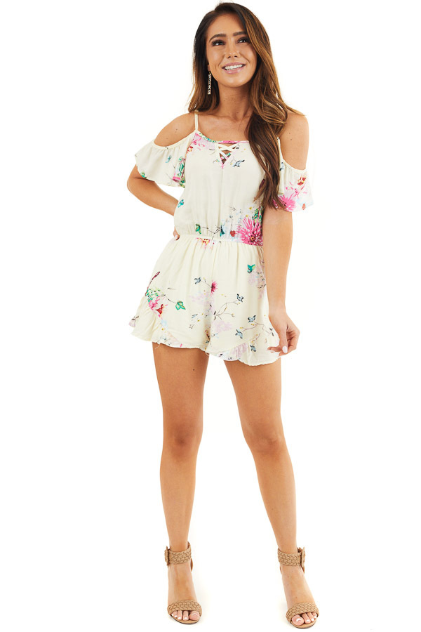 Champagne Floral Print Cold Shoulder Romper with Pockets front full body