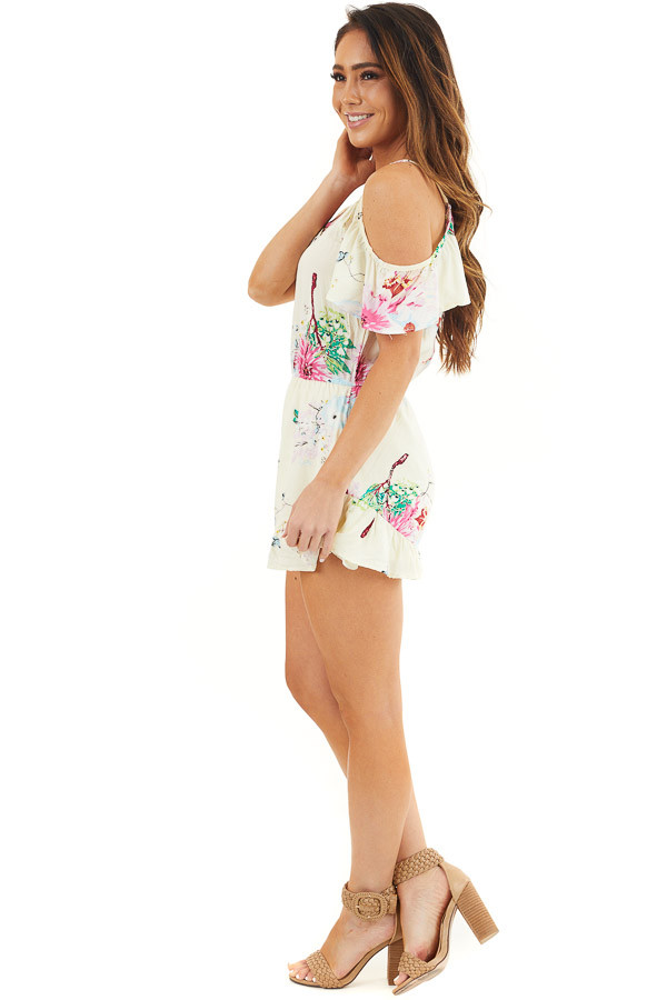 Champagne Floral Print Cold Shoulder Romper with Pockets side full body