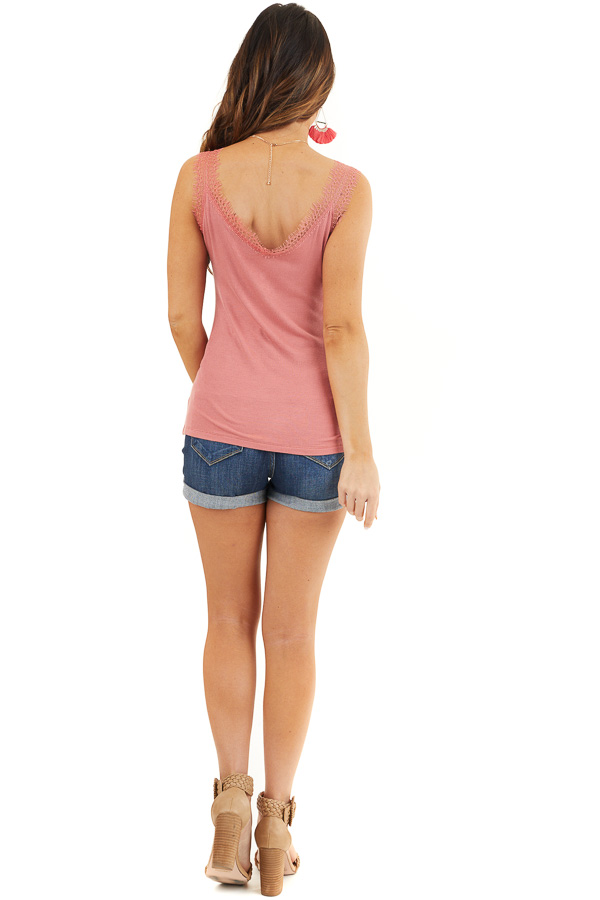 Faded Coral Ribbed Henley Tank Top with Eyelash Lace Details back full body