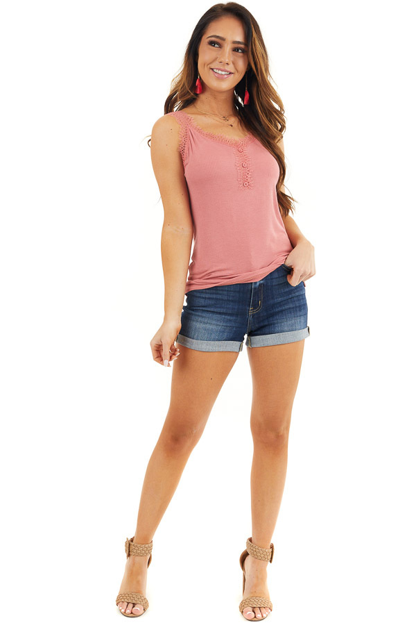 Faded Coral Ribbed Henley Tank Top with Eyelash Lace Details front full body
