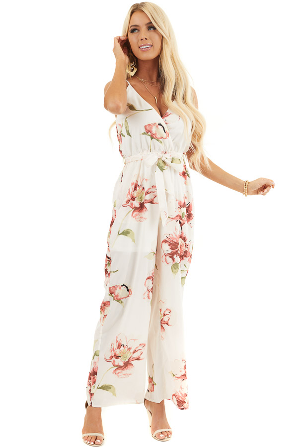 Cream Floral Print Wide Leg Surplice Jumpsuit with Waist Tie front full body