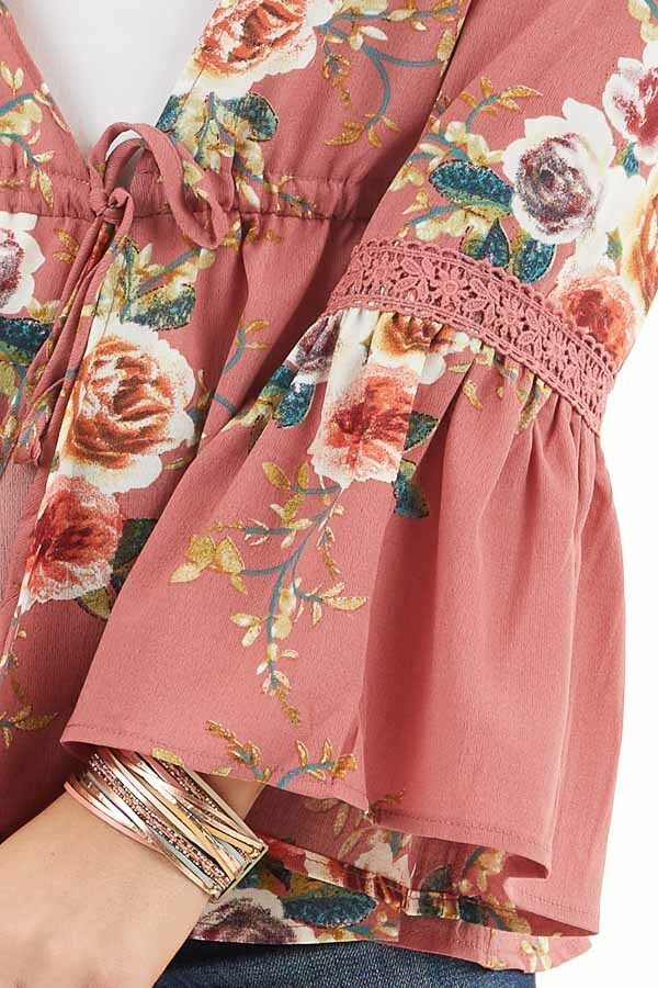 Dusty Pink Floral Print Kimono with Trumpet Sleeves and Tie detail