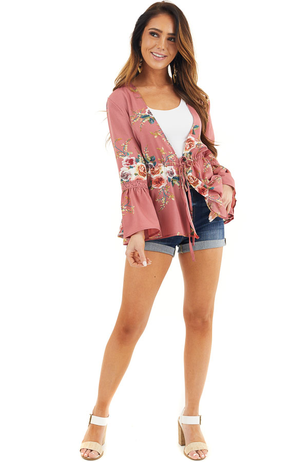 Dusty Pink Floral Print Kimono with Trumpet Sleeves and Tie front full body