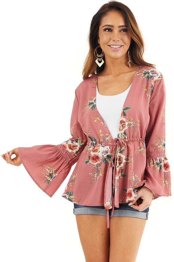 Dusty Pink Floral Print Kimono with Trumpet Sleeves and Tie front close up