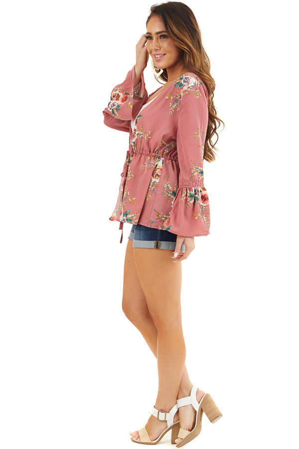 Dusty Pink Floral Print Kimono with Trumpet Sleeves and Tie side full body