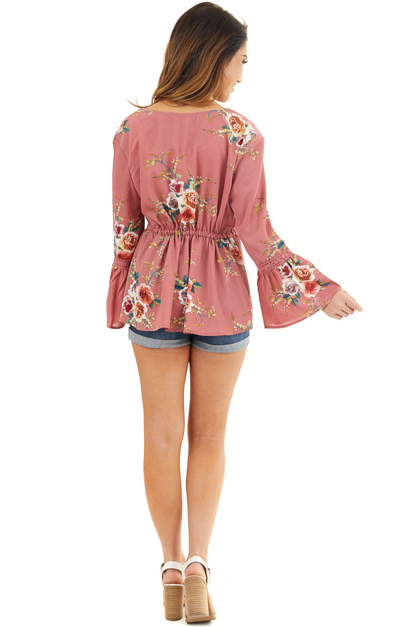 Dusty Pink Floral Print Kimono with Trumpet Sleeves and Tie back full body