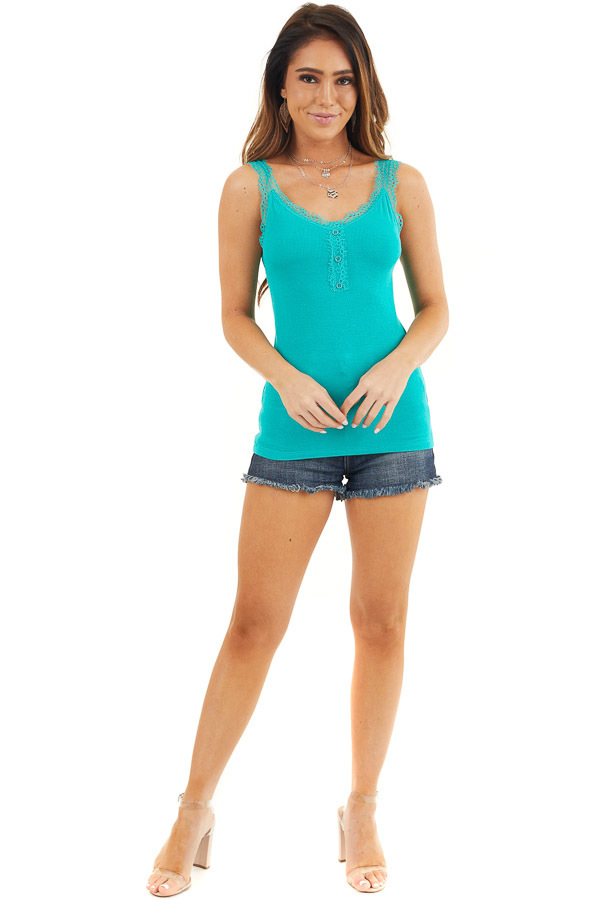 Teal Ribbed Henley Tank Top with Eyelash Lace Details front full body