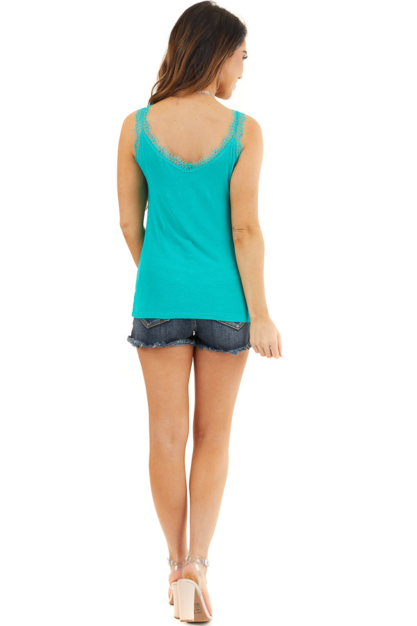 Teal Ribbed Henley Tank Top with Eyelash Lace Details back full body