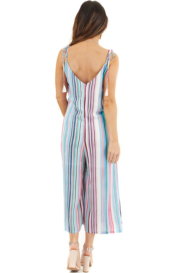 Multicolor Striped Jumpsuit with Pockets and Cropped Legs back full body