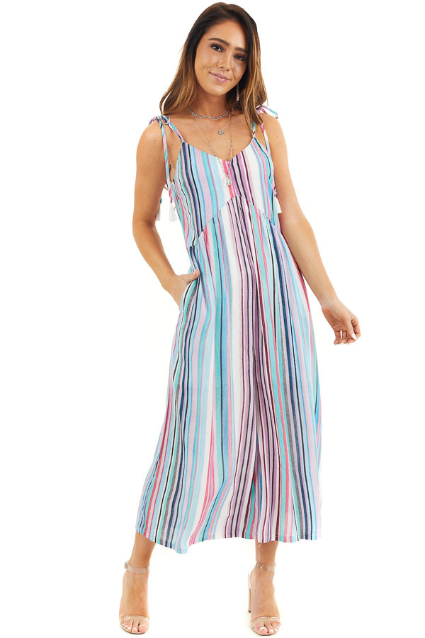 Multicolor Striped Jumpsuit with Pockets and Cropped Legs front full body