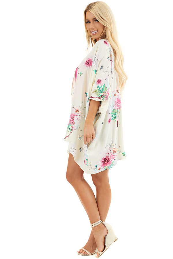 Cream Floral Print Short Sleeve Kimono with Open Front side full body