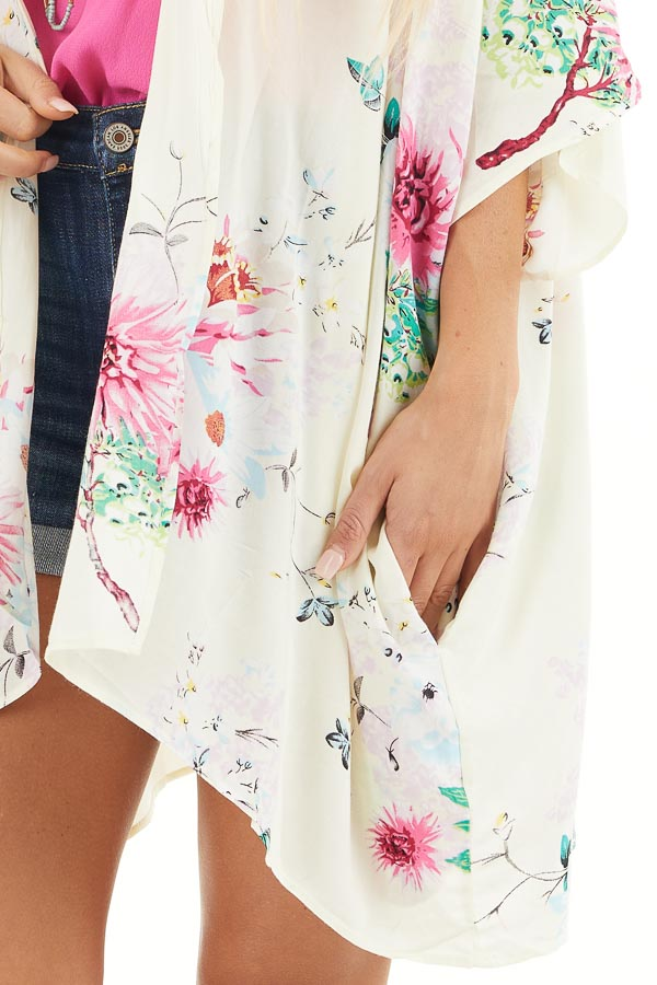 Cream Floral Print Short Sleeve Kimono with Open Front detail