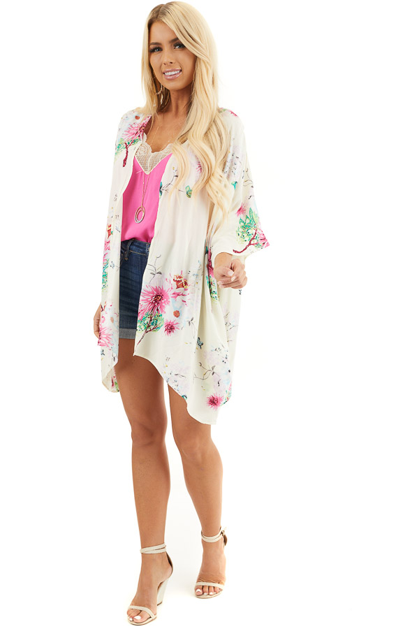 Cream Floral Print Short Sleeve Kimono with Open Front front full body