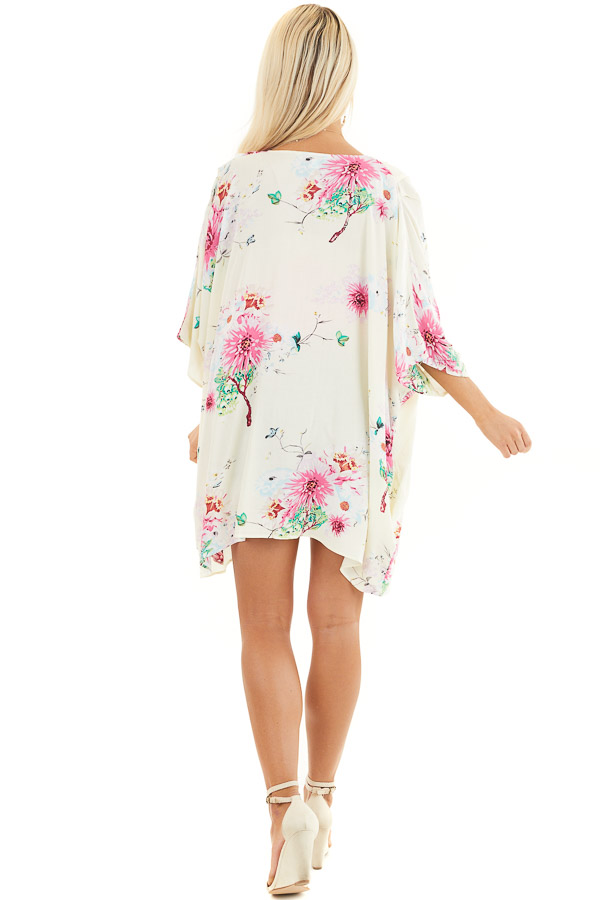 Cream Floral Print Short Sleeve Kimono with Open Front back full body