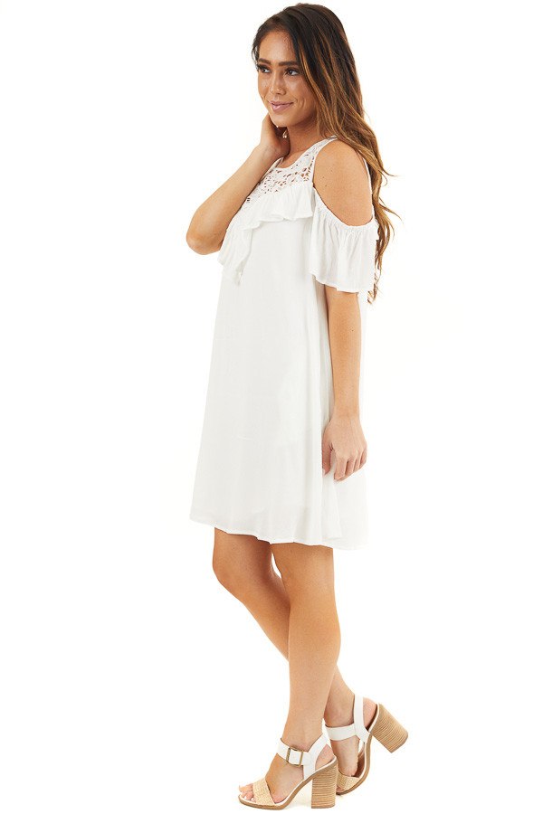 Off White Cold Shoulder Dress with Crochet Lace Yoke Detail side full body