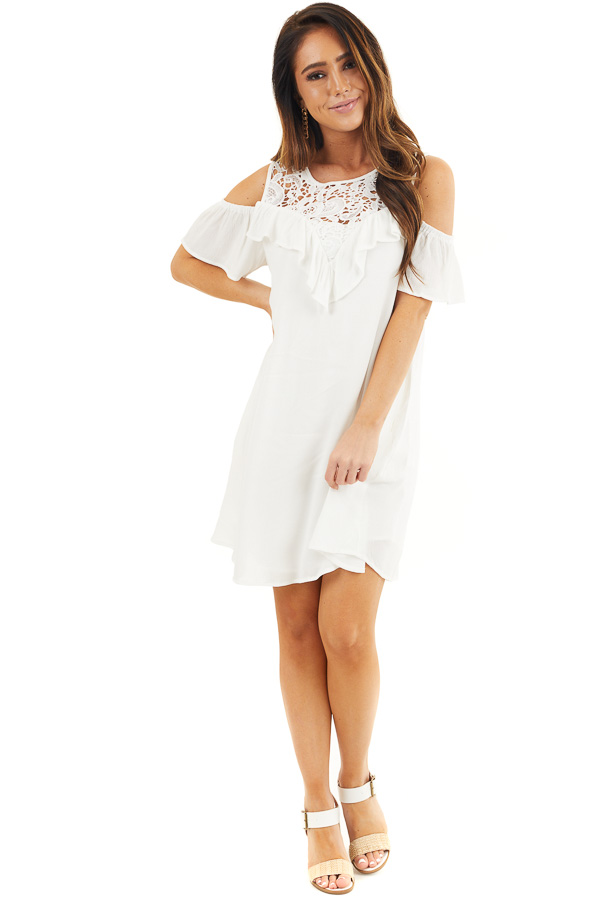 Off White Cold Shoulder Dress with Crochet Lace Yoke Detail front full body