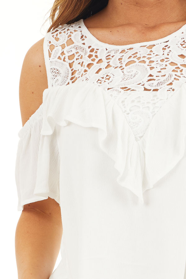 Off White Cold Shoulder Dress with Crochet Lace Yoke Detail detail