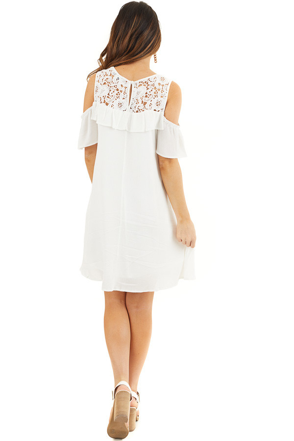 Off White Cold Shoulder Dress with Crochet Lace Yoke Detail back full body