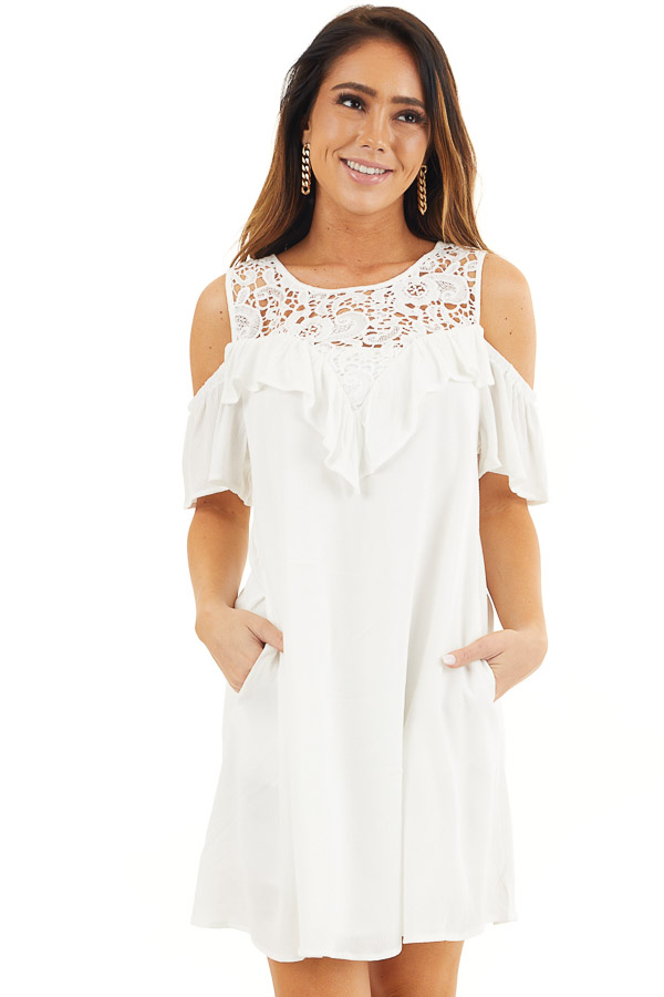 Off White Cold Shoulder Dress with Crochet Lace Yoke Detail front close up