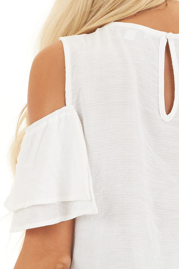 Off White Cold Shoulder Woven Top with Overlay Details detail