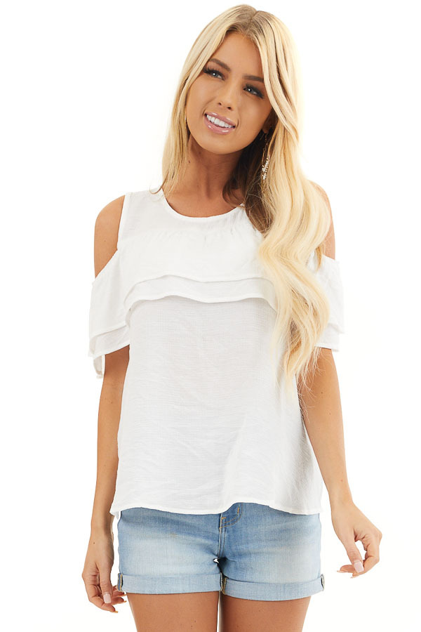 Off White Cold Shoulder Woven Top with Overlay Details front close up