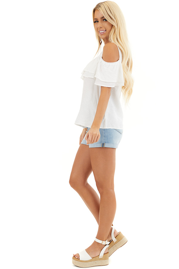 Off White Cold Shoulder Woven Top with Overlay Details side full body