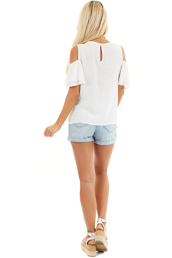 Off White Cold Shoulder Woven Top with Overlay Details back full body