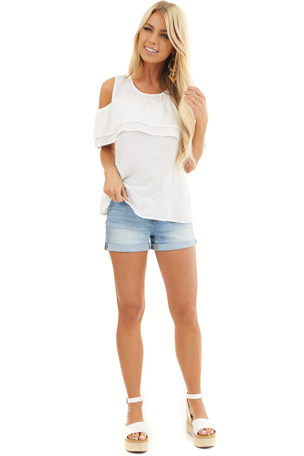 Off White Cold Shoulder Woven Top with Overlay Details front full body