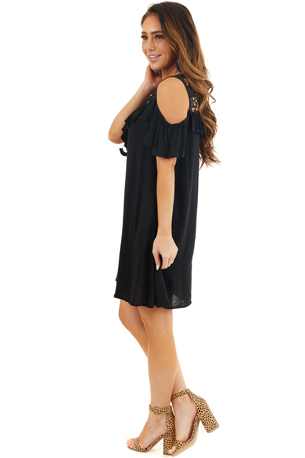 Black Cold Shoulder Dress with Crochet Lace Yoke Detail side full body